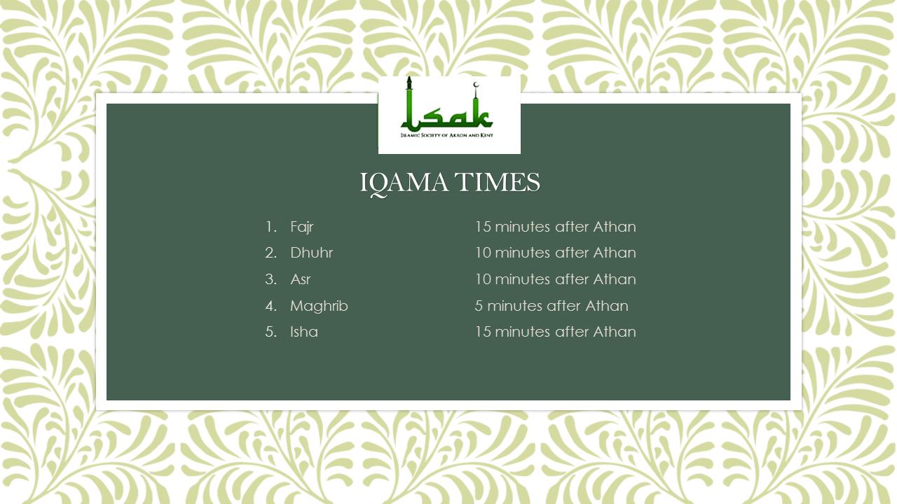 Iqamah Timing